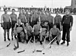 Photograph of a prisoners' hockey team at an internment camp in Alberta, February 1946