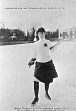 Photograph of a female hockey player  on an outdoor rink