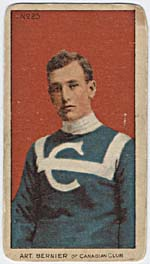 Photograph of an Art Bernier hockey card, circa 1910-1912