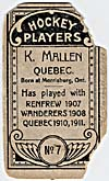 Photo d'une carte de hockey de K. Mallen, vers 1910-1912