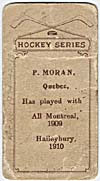 Photo d'une carte de hockey de P. Moran, vers 1910-1912