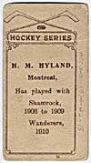 Photo d'une carte de hockey de H.M. Hyland, vers 1910-1912