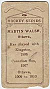 Photo d'une carte de hockey de Martin Walsh, vers 1910-1912