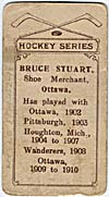 Photo d'une carte de hockey de Bruce Stuart, vers 1910-1912