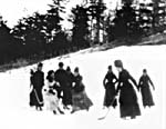 Photograph of women playing hockey outdoors at Rideau Hall, Ottawa, circa 1890