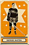 Front of hockey card with a photograph of Georges Mantha, 1933-1934