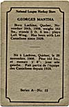 Back of hockey card with a brief biography of Georges Mantha