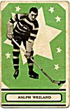 Front of hockey card with a photograph of Ralph Weiland, 1933-1934