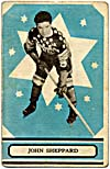 Front of hockey card with a photograph of John Sheppard, 1933-1934