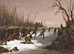 Tableau intitulé BALLPLAY OF THE DAKOTA ON THE ST. PETERS RIVER IN WINTER, peint en 1848