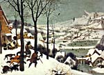 Painting by Pietr Bruegel (the elder) entitled HUNTERS IN THE SNOW, circa 1565