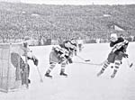 Photograph of a hockey match between the USSR and Czechoslovakia, 1948