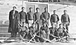 Photograph of the Blackfoot hockey team on Blackfoot reserve, Alberta