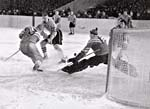 Photograph of a hockey match between the USSR and Sweden, 1957