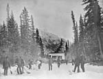 Photograph of curling at Banff, Alberta, 1906