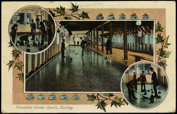 Colour postcard illustrating curling scenes
