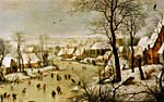 Painting by Pietr Bruegel (the elder) entitled WINTER LANDSCAPE WITH A BIRD TRAP, circa 1565