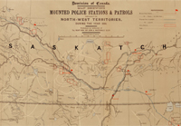 Map of Mounted Police stations and patrols in the North West Territories, 1886