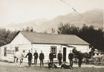 Photograph of group of NWMP in front of NWMP Post, Banff, Alberta,1888