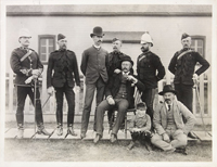 Photograph of group of officers, 1888. Standing: Inspectors Routledge, Wattam, Moffatt, Norman, Cotton, MacPherson. Seated: Superintendent Jarvis, Inspector Constantine and son.