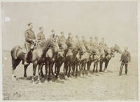 Photograph of recruits on horseback at Regina, under the instruction of Riding Master, Staff Sergeant William D. Bruce, 1894