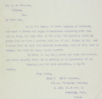 Transcription of a letter from the Vitagraph Company, an early motion picture firm, requesting information on Mounted Police uniforms, March 6, 1916