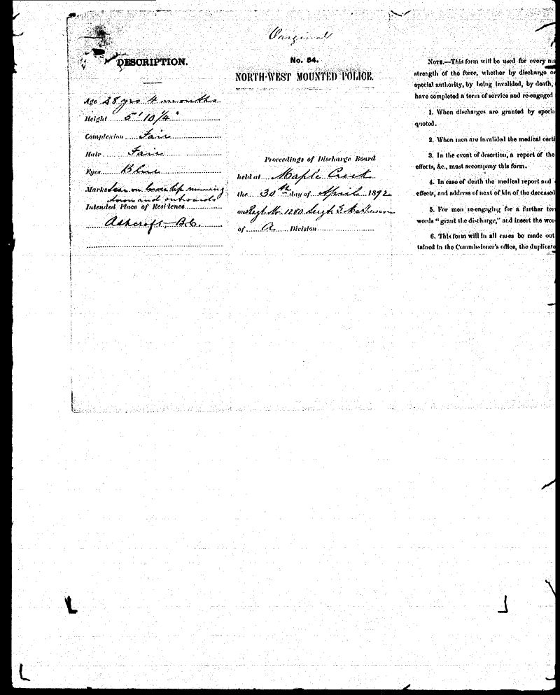 Digitized page of NWMP for Image No.: sf-01280.0072-v7