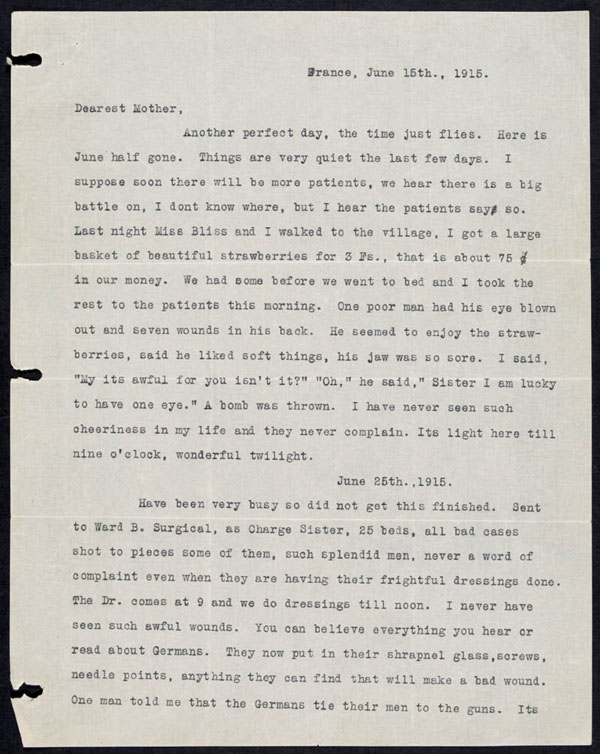 Letter - 15/06/1915 to Mother - Page 1