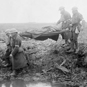 Wounded Canadians on way to aid-post, Battle of Passchendaele