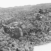 Personnel of the 16th Canadian Machine Gun Company holding the line in shell holes during the Battle of Passchendaele