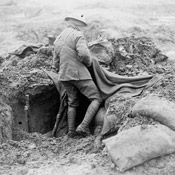 A Canadian finds that a Boche shell has disarranged his home, Battle of Passchendaele