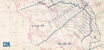 Detailed army barrage map showing the Canadian rolling barrage lines and times for the battle of Passchendaele.  Also shows the position of the Australia and New Zealand Army Corps.
