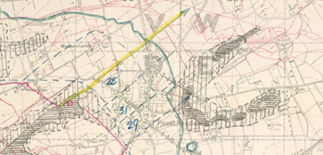 Detailed topographical battlefield map of the Canadian and German positions at Passchendaele Station.