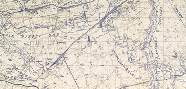 Map detailing the British and German trench systems winding through the battlefields of Passchendaele.
