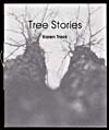 Book cover with a light grey image of two trees and a title and the name of the artist printed in black in the top middle area. Beige stitching of the binding is showing on the left.
