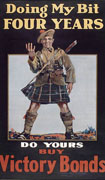 Colour poster with illustration of a soldier wearing a kilt. One of his hands is raised, holding up four fingers. Title at  top and text at bottom