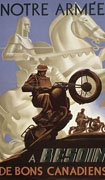 Colour poster with illustration of a soldier doing a wheelie on a motorcycle. In  the background is an image of a knight on a rearing horse. Title split between top and bottom
