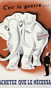 "Colour poster with illustration of a white elephant on an orange background with a sign on its flank that reads ""For Sale"" in French. A man and woman examine the elephant. Title split between top and bottom"