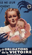 Colour poster with illustration of a woman holding a baby on a blue background. On their left a black claw-like hand with the Imperial Japanese Army's ensign on it threatens them, on the right there is a similar hand with a Nazi symbol on it. Text at top and bottom