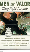 Colour poster with illustration of a merchant marine with megaphone at sea observing an air battle. Another crew member is firing on a plane which has been hit and is going down. Title at top and text at bottom