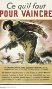 Colour poster with illustration of a soldier holding a machine gun and running. Title in black and brown at top, text in brown on green background at bottom