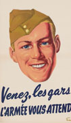 Colour poster with illustration of a head of a smiling soldier wearing a Canadian khaki field service cap, also known as as wedge cap. Title in blue at bottom on white background