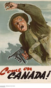 Colour poster with illustration of a soldier in fatigues who is yelling and holding a machine gun while waving his other arm to signal others to follow him. Title in red and black at bottom