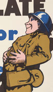 Colour poster with an illustration of a smiling American soldier holding his stomach at bottom-right. Title covers most of  top, text at bottom