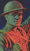 Colour poster with illustration of a soldier pointing at the title. Title in yellow at top, text in blue at bottom