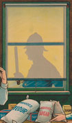 Colour poster with illustration of a man and woman standing at a table laden with bags of flour and sugar. Behind them is a shaded window with the silhouette of a police officer. Text at top and bottom