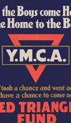 "Poster with an inverted red triangle superimposed with the letters ""Y.M.C.A."" in white on black background. Title at top and text at bottom"
