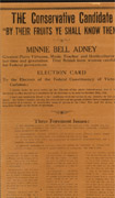 Broadside with black text on brown paper, signed  Minnie Bell Adney
