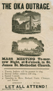 Broadside, black text in different sizes and fonts on light-brown paper, with two images: a church between two buildings in one, and an empty lot where the church once stood in the other