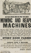 Broadside printed in black in different sizes and fonts on beige paper with image of two men riding a mowing and reaping machine pulled by two horses, with text underneath, signed John Smith